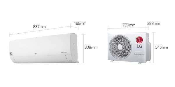 LG 2.5kw split system WS09TWS indoor and outdoor dimensions